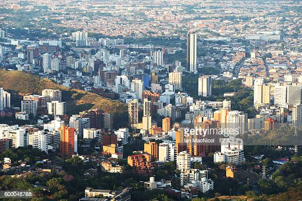 The Downtown area of Cali is seen from the Cristo Rey Statue on September 7 2016 in Cali Colombia