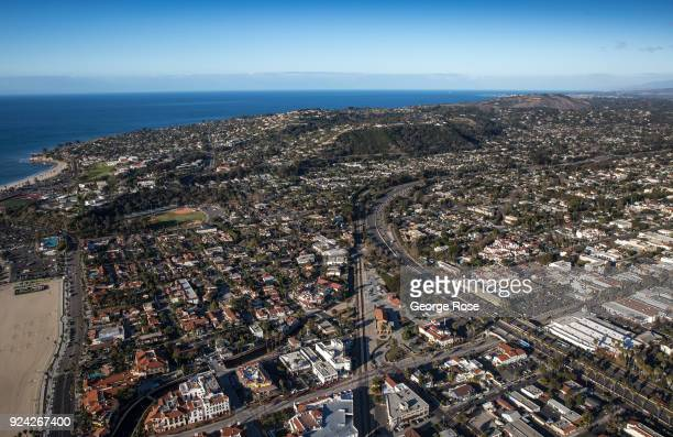 The downtown buildings along Highway 101 and State Street are viewed in this aerial photo on February 23 in Santa Barbara California A combined...