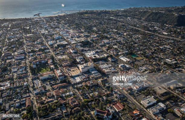 The downtown buildings along State Street are viewed in this aerial photo on February 23 in Santa Barbara California A combined series of natural...
