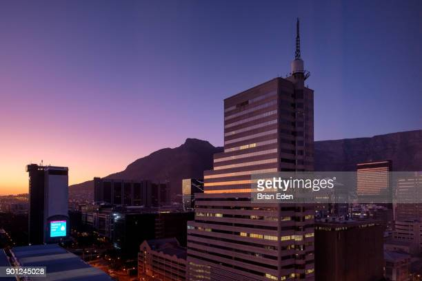 The downtown Cape Town skyline at sunset