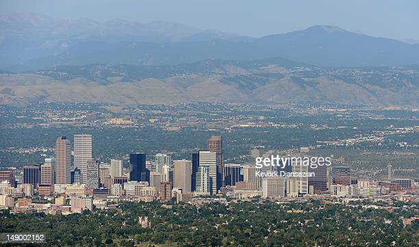 The downtown Denver skyline is seen from the air a day after a gunman went on a shooting rampage at the Century 16 movie theatre during an early...
