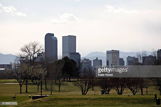 The downtown Denver skyline seen from City Park Golf Course in Denver Colorado on March 16 2016