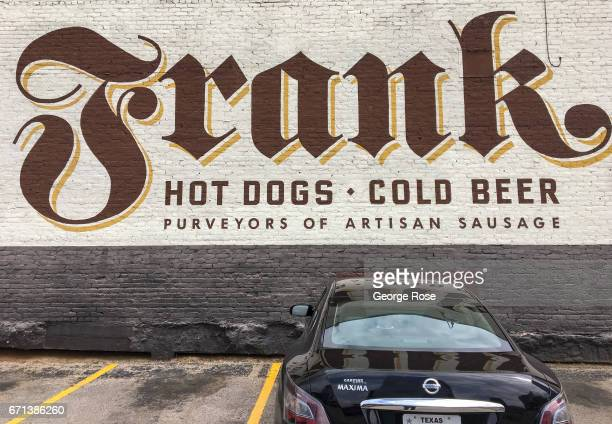 The downtown entrance to Frank a restaurant that features artisan sausage and beer is viewed on April 14 in Austin Texas Austin the State Capital of...
