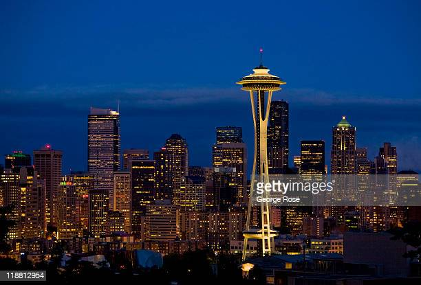 The downtown highrise buildings and Space Needle seen on June 28 2011 in Seattle Washington Seattle the largest city in Washington State is located...