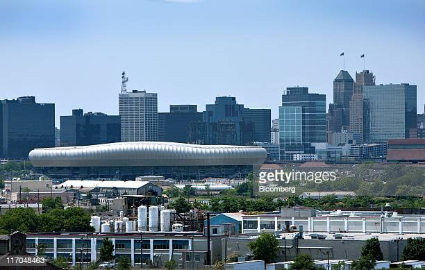 The downtown Newark skyline is seen from Harrison New Jersey US on Wednesday June 15 2011 New Jersey's economic recovery is lagging behind the nation...