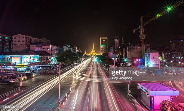 The downtown of Yangon and scenery view of Sule pagoda.