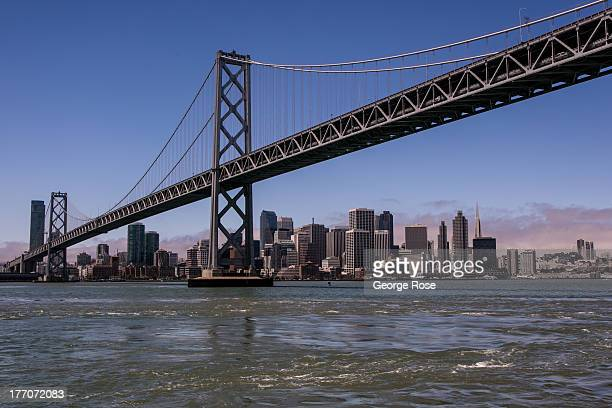 The downtown San Francisco skyline and Bay Bridge are shown during a 30-minute ferry ride across to AT&T Park on July 10 in San Francisco,...