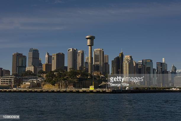 The downtown skyline is viewed from Darling Harbour on August 10 2010 Sydney Australia Sydney a major destination for global travelers was the host...