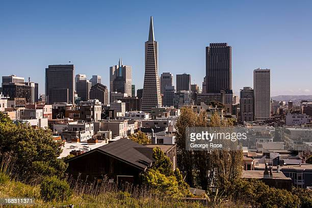 The downtown skyline is viewed from Telegraph Hill and Coit Tower on April 15 in San Francisco California Some 136 million international travelers...