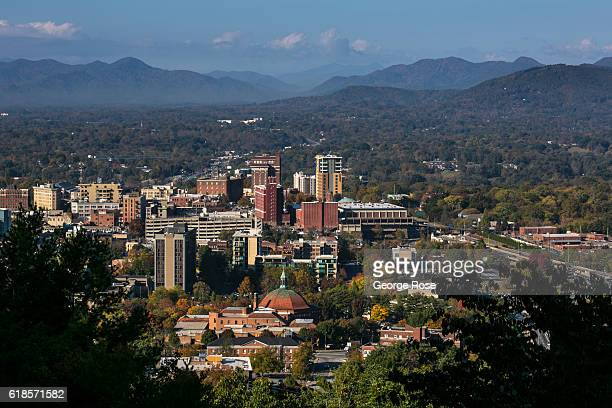 The downtown skyline is viewed on a sunny autumn day on October 20 2016 near Asheville North Carolina Named one of the Top 10 Great Places to Retire...