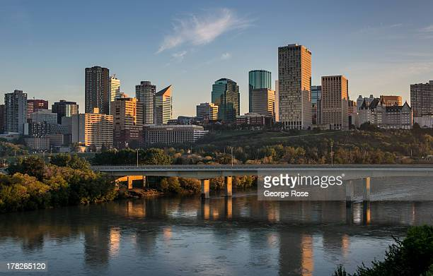 The downtown skyline with its new highrise office buildings is viewed on July 1 2013 in Edmonton Alberta Canada Edmonton along with its neighbor to...
