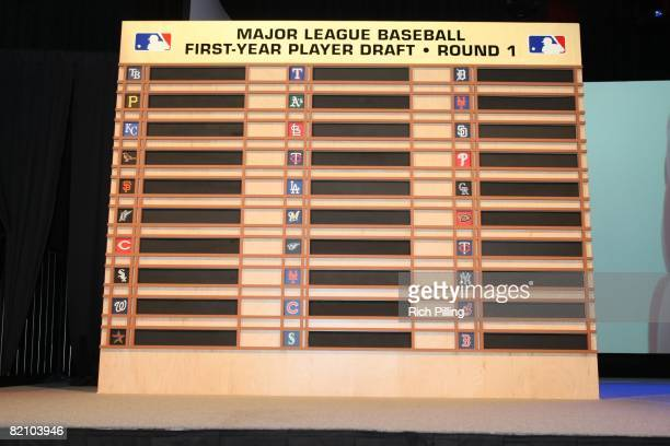 The draft board during the 2008 Major League Baseball Draft held in the Milk House in Disney's Wide World of Sports in Lake Buena Vista, Florida on...