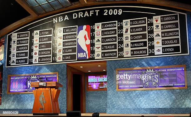 The draft board is seen after the first round of the 2009 NBA Draft at the Wamu Theatre at Madison Square Garden June 25 2009 in New York City NOTE...