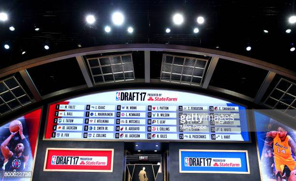 The draft board is seen displaying picks 1 through 30 after the first round of the 2017 NBA Draft at Barclays Center on June 22 2017 in New York City...