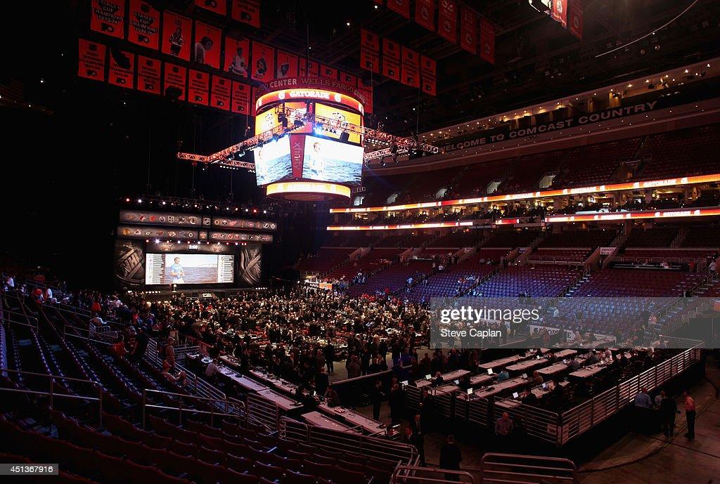 The draft floor is seen during the 2014 NHL Entry Draft at Wells Fargo Center on June 28, 2014 in Philadelphia, Pennsylvania.