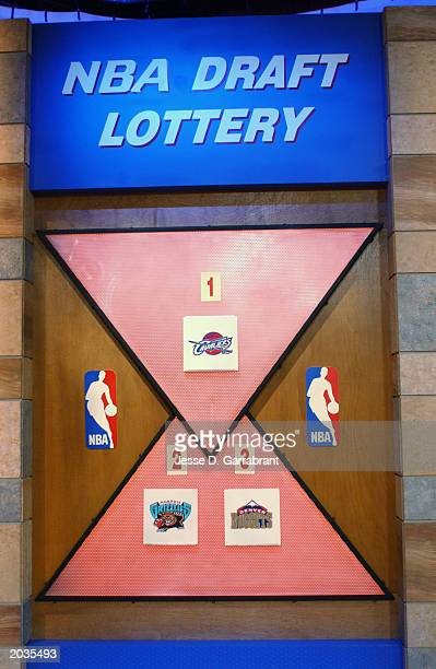 The draft lottery board during the 2003 NBA draft lottery on May 22 2003 in Secaucus New Jersey NOTE TO USER User expressly acknowledges and agrees...