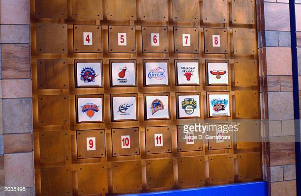 The draft lottery position board during the 2003 NBA draft lottery on May 22 2003 in Secaucus New Jersey NOTE TO USER User expressly acknowledges and...