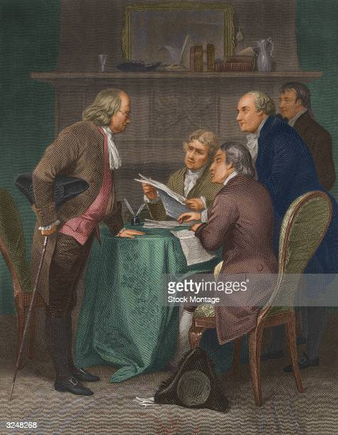 The drafting of the Declaration of Independence in Colonial America From left to right Benjamin Franklin Thomas Jefferson John Adams Robert...