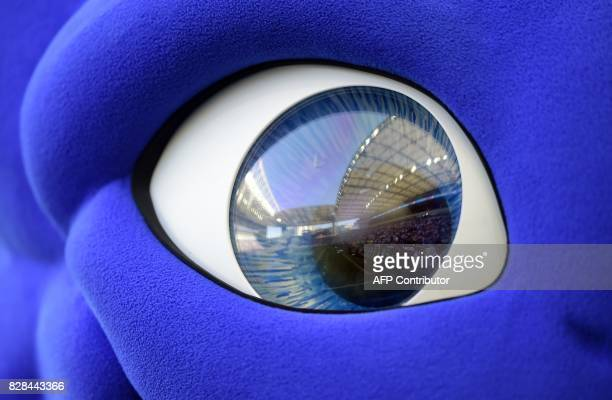 The Dragao stadium is reflected on the eye of Draco the FC Porto's mascot before the start of the Portuguese league football match FC Porto vs...