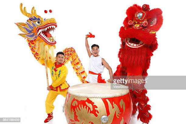 The dragon and lion dance