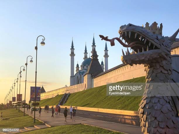 The Dragon near Kul Sharif Mosque and Kazan Kremlin on June 29, 2018 in Kazan, Tatarstan, Russia.