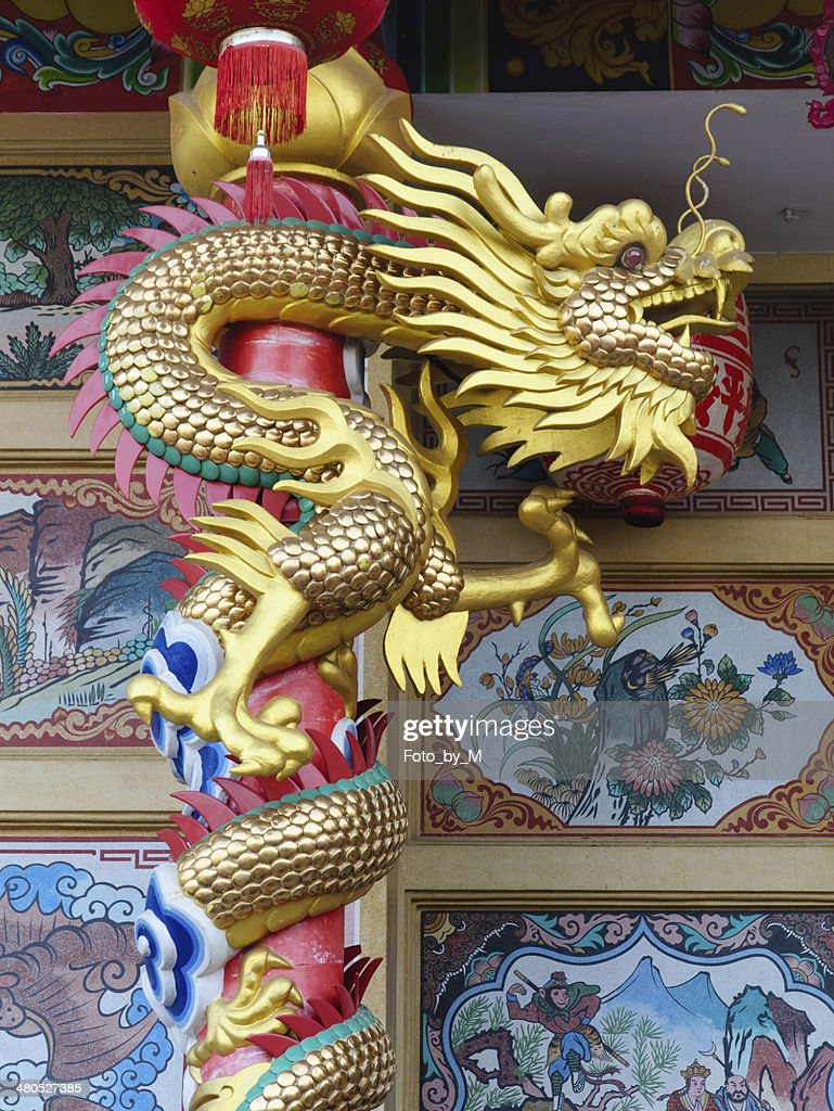 The Dragon on the pillar : Stock Photo