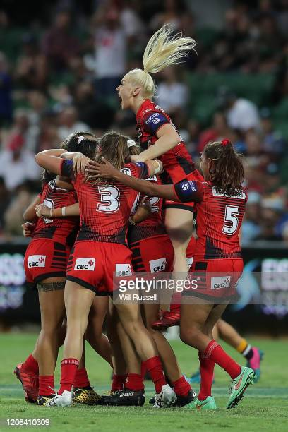 The Dragons celebrate after winning the final against the Broncos during Day 2 of the 2020 NRL Nines at HBF Stadium on February 15, 2020 in Perth,...
