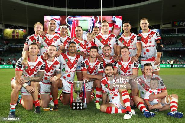 The Dragons celebrate victory after the round eight NRL match between the St George Illawara Dragons and Sydney Roosters at Allianz Stadium on April...