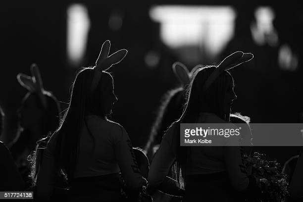 The Dragons cheergirls watch on during the round four NRL match between the St George Illawarra Dragons and the Penrith Panthers at WIN Stadium on...