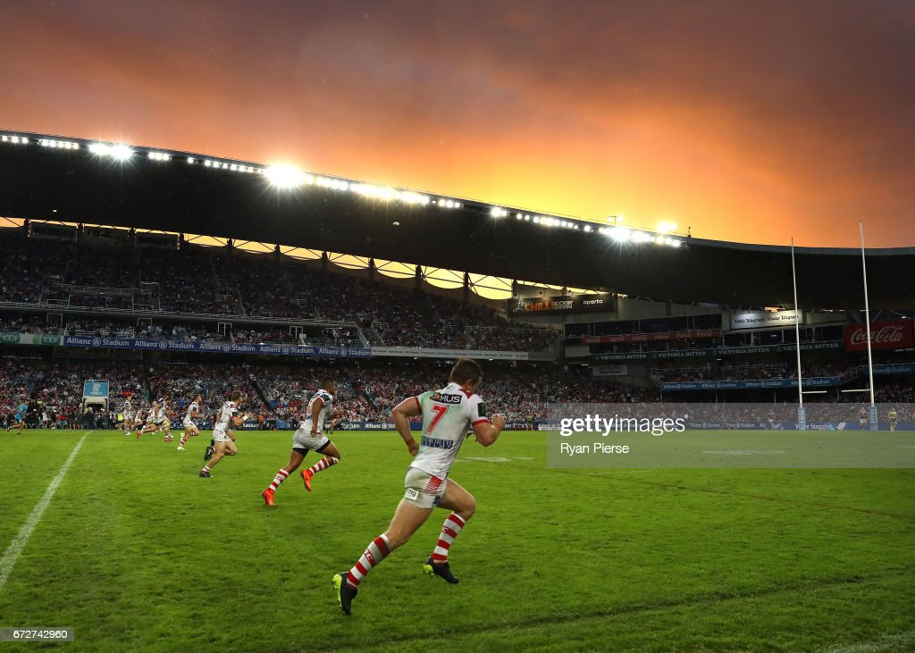 The Dragons kick off after half time at sunset during the round eight NRL match between the Sydney Roosters and the St George Illawarra Dragons at Allianz Stadium on April 25, 2017 in Sydney, Australia.
