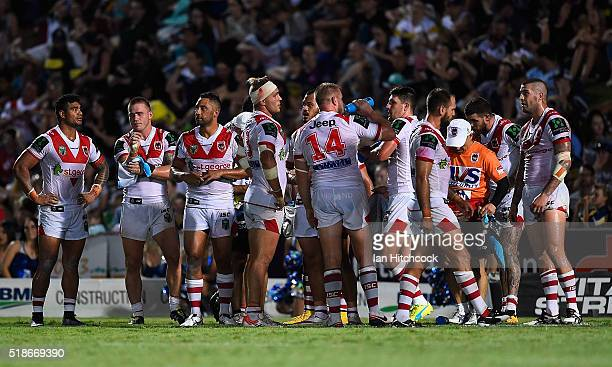 The Dragons stand in goal waiting for a conversion attempt during the round five NRL match between the North Queensland Cowboys and the St George...
