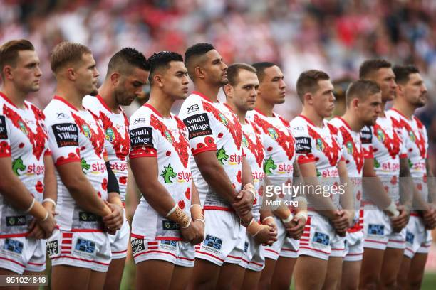 The Dragons stand to commemorate Anzac Day during the round eight NRL match between the St George Illawara Dragons and Sydney Roosters at Allianz...
