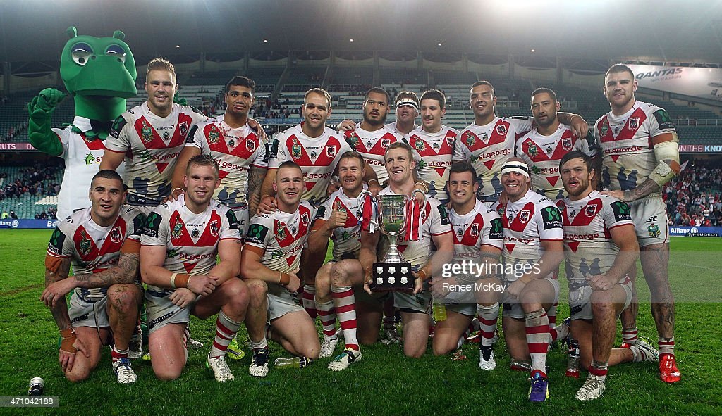 The Dragons team pose for a photo with the ANZAC trophy after their win at the round eight NRL match between the Sydney Roosters and the St George Illawarra Dragons at Allianz Stadium on April 25, 2015 in Sydney, Australia.