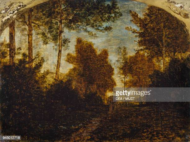 The drain 18601869 by Antonio Fontanesi oil on canvas 28x37 cm Italy 19th century
