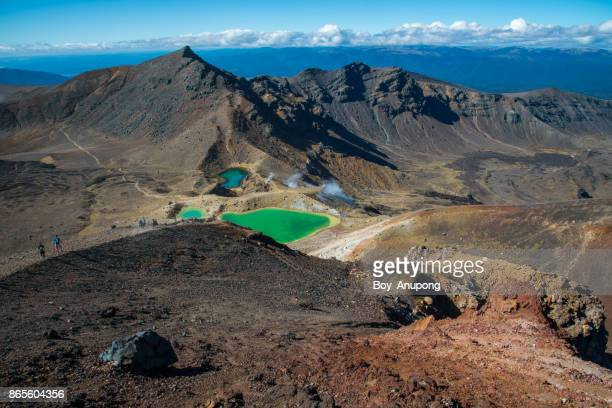 The dramatic landscape of emerald lake in Tongariro national park of North Island, New Zealand.