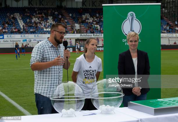 The draw for the next round of the DFB Pokal der Frauen takes place during the Second FrauenBundesliga match between SV Meppen and 1 FC Koeln on...