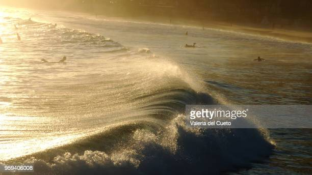 The drawing of the waves at the sunset of Ipanema