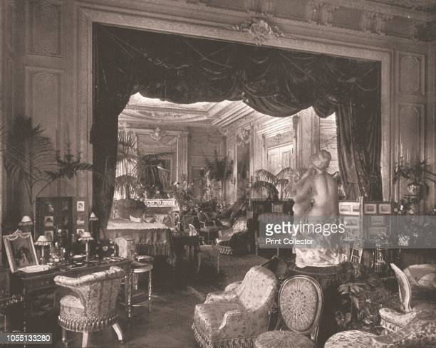The Drawing Room at Sandringham House Norfolk 1894 Interior at the royal residence showing a sculpture and potted palms From Beautiful Britain views...