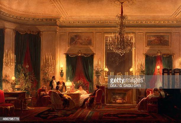 The drawing room of Princess Mathilde in Rue de Courcelles in Paris painting by Charles Giraud oil on canvas 63x100 cm