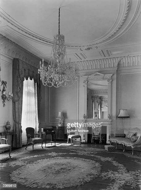 The drawing room on the first floor of Clarence House in London, 1949. The house was built in 1825-27 by John Nash for the Duke of Clarence, later...