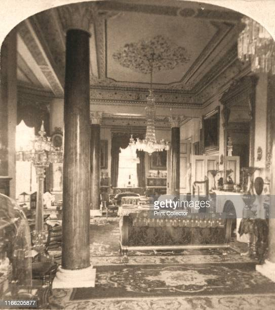 """The Drawing Room, Queen Victoria's Marine Residence, Osborne House, I. O. W', 1900. From """"Underwood and Underwood Publishers, New York-London-Toroto..."""