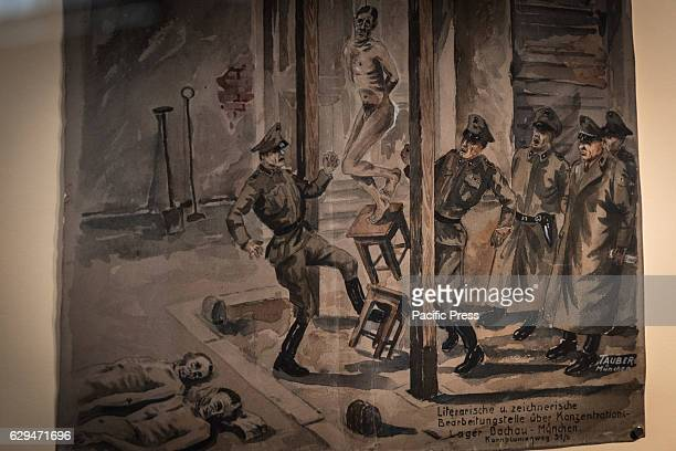 The drawing showing the condition of the prisoners of the Dachau concentration camp