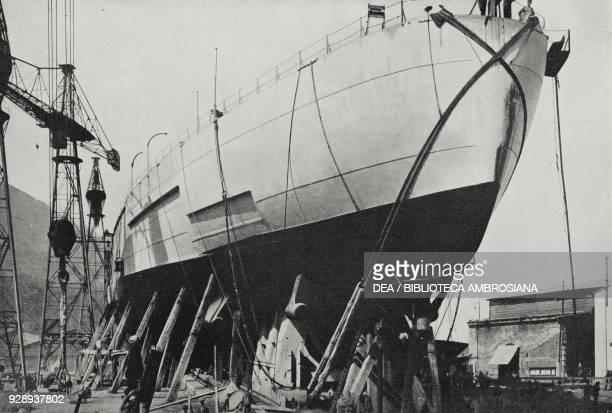 The dreadnought Caracciolo of the Italian Royal Navy ready for the launch Castellammare di Stabia Italy from L'Illustrazione Italiana Year XVLII No...