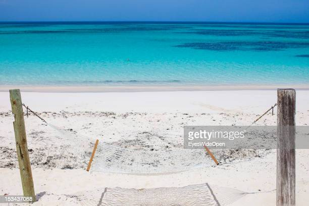 The dream of beachlife - a hammock at the white, sandy and lonely 8-Miles-Beach with the turquois blue waters of the carribean sea on June 15, 2012...