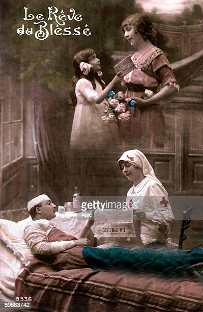 The dream of wounded, young soldier wonded treated in hospital by a nurse of Red Cross who is reading the paper, and he thinks to his wife and his...