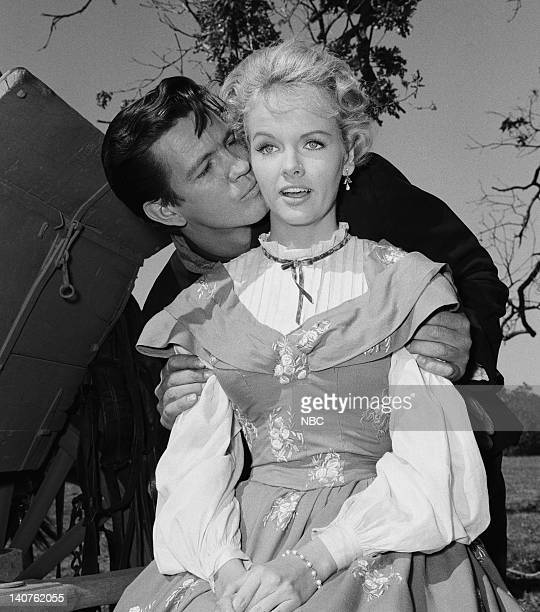 BONANZA The Dream Riders Episode 32 Pictured Burt Douglas as Private Bill Kingsley Diana Millay as Diana Cayley Photo by Herb Ball/NBC/NBCU Photo Bank