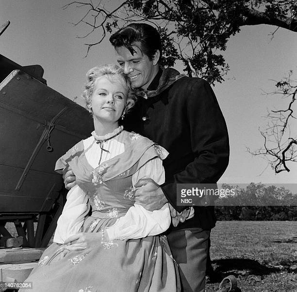 BONANZA The Dream Riders Episode 32 Pictured Diana Millay as Diana Cayley Burt Douglas as Private Bill Kingsley Photo by Herb Ball/NBC/NBCU Photo Bank
