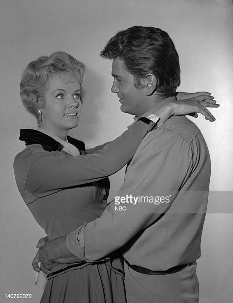 BONANZA The Dream Riders Episode 32 Pictured Diana Millay as Diana Cayley Michael Landon as Joseph 'Little Joe' Cartwright Photo by Herb...