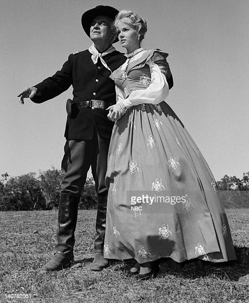BONANZA The Dream Riders Episode 32 Pictured Sidney Blackmer as Major John F Cayley Diana Millay as Diana Cayley Photo by Herb Ball/NBC/NBCU Photo...