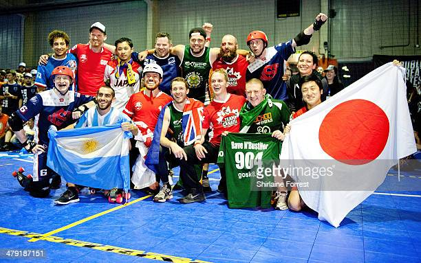 The Dream Team comprised of the best international skaters in the competition celebrate at the Men's Roller Derby World Cup at Futsal Arena on March...